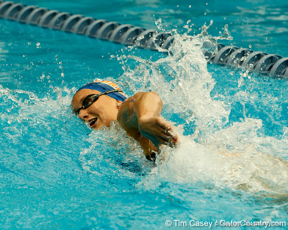 Florida junior Corinne Showalter competes in the women's 200-yard freestyle during the Gators' meet against the Florida Atlantic Owls on Saturday, January 14, 2012 at the Stephen C. O'Connell Center Natatorium in Gainesville, Fla. / Gator Country photo by Tim Casey