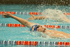 Florida freshman Colin Hamilton competes in the men's 100-yard backstroke during the Gators' meet against the Florida Atlantic Owls on Saturday, January 14, 2012 at the Stephen C. O'Connell Center Natatorium in Gainesville, Fla. / Gator Country photo by Tim Casey