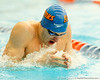 Florida freshman Ricky Munch competes in the men's 100-yard breaststroke during the Gators' meet against the Florida Atlantic Owls on Saturday, January 14, 2012 at the Stephen C. O'Connell Center Natatorium in Gainesville, Fla. / Gator Country photo by Tim Casey