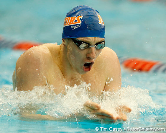 Florida freshman Dan Wallace competes in the men's 400-yard IM during the Gators' meet against the Florida Atlantic Owls on Saturday, January 14, 2012 at the Stephen C. O'Connell Center Natatorium in Gainesville, Fla. / Gator Country photo by Tim Casey