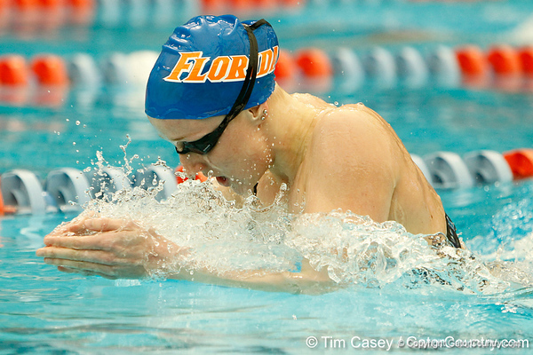 Florida sophomore Hilda Luthersdottir competes in the women's 200-yard breaststroke during the Gators' meet against the Florida Atlantic Owls on Saturday, January 14, 2012 at the Stephen C. O'Connell Center Natatorium in Gainesville, Fla. / Gator Country photo by Tim Casey