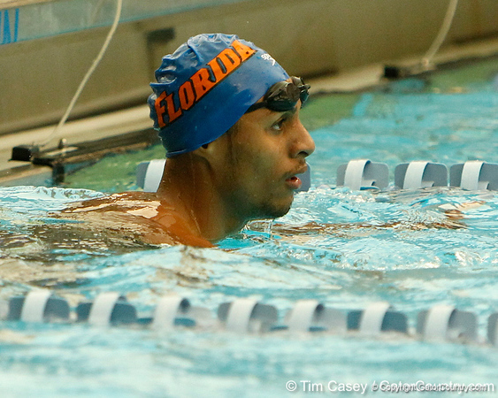 Florida swimmers compete in the men's 400-yard freestyle relay during the Gators' meet against the Florida Atlantic Owls on Saturday, January 14, 2012 at the Stephen C. O'Connell Center Natatorium in Gainesville, Fla. / Gator Country photo by Tim Casey