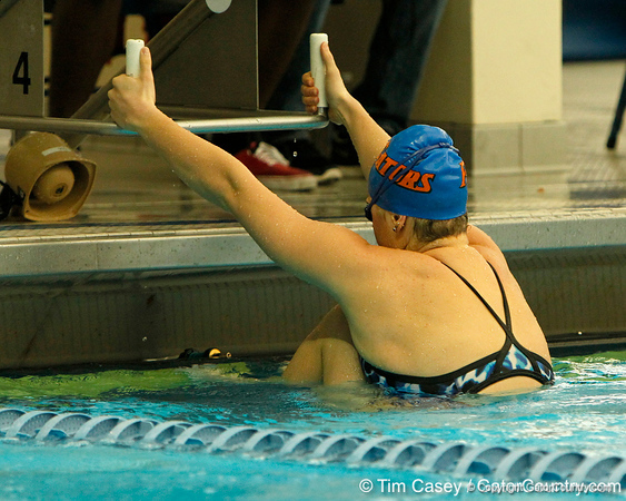 Florida sophomore Elizabeth Beisel prepares for the women's 100-yard backstroke during the Gators' meet against the Florida Atlantic Owls on Saturday, January 14, 2012 at the Stephen C. O'Connell Center Natatorium in Gainesville, Fla. / Gator Country photo by Tim Casey