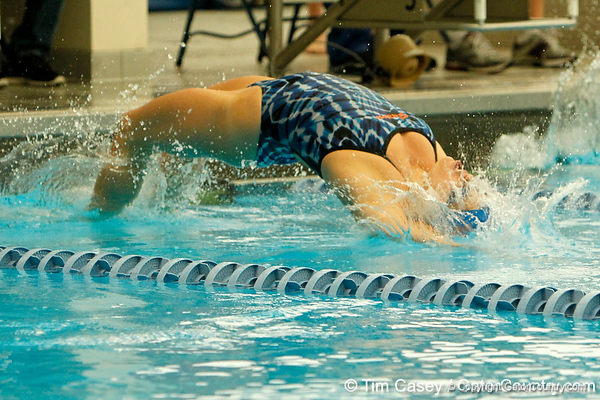 Florida sophomore Elizabeth Beisel starts the women's 100-yard backstroke during the Gators' meet against the Florida Atlantic Owls on Saturday, January 14, 2012 at the Stephen C. O'Connell Center Natatorium in Gainesville, Fla. / Gator Country photo by Tim Casey