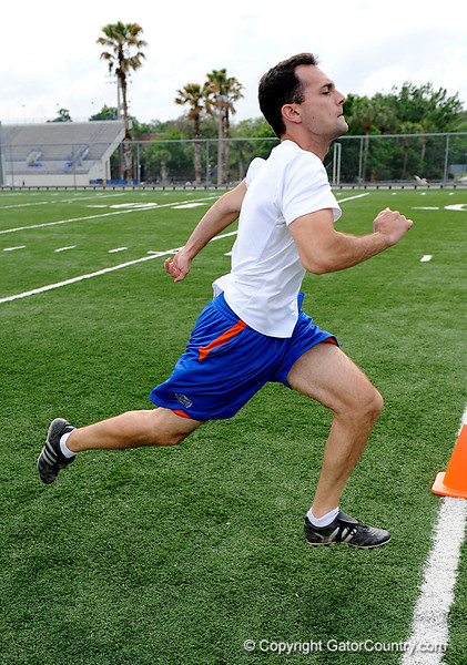 """Twenty-two local runners compete in a 40-yard sprint  for the title of """"Fastest Gator"""" on Monday, April 2, 2009 in Gainesville, Fla. Jeff Mesadieu won the preliminary race with a 4.42 time. / Gator Country photo by Casey Brooke Lawson"""