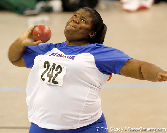 Florida freshman Arlithia Mackey competes in the shot put during the Gator Invite indoor track meet on Sunday, January 22, 2012 at the Stephen C. O'Connell Center in Gainesville, Fla. / Gator Country photo by Tim Casey