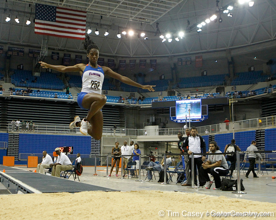 Florida freshman Gissell Warner competes in the triple jump during the Gator Invite indoor track meet on Sunday, January 22, 2012 at the Stephen C. O'Connell Center in Gainesville, Fla. / Gator Country photo by Tim Casey
