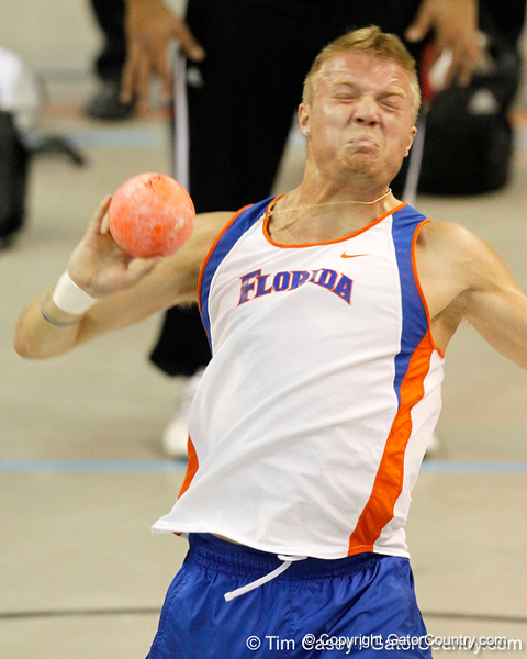 Florida senior Gray Horn competes in the shot put during the Gator Invite indoor track meet on Sunday, January 22, 2012 at the Stephen C. O'Connell Center in Gainesville, Fla. / Gator Country photo by Tim Casey