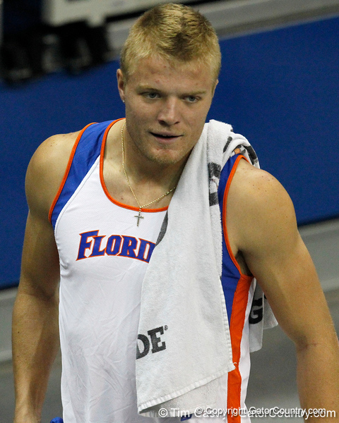 Florida senior Gray Horn competes in the pole vault during the Gator Invite indoor track meet on Sunday, January 22, 2012 at the Stephen C. O'Connell Center in Gainesville, Fla. / Gator Country photo by Tim Casey