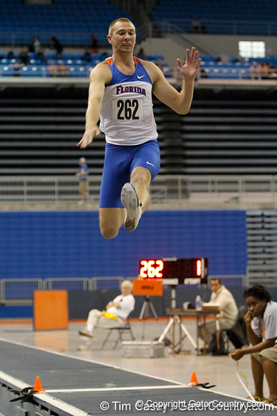 Florida sophomore Josh Pederson competes in the long jump during the Gator Invite indoor track meet on Sunday, January 22, 2012 at the Stephen C. O'Connell Center in Gainesville, Fla. / Gator Country photo by Tim Casey