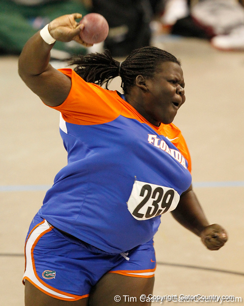 Florida senior Fidela James competes in the shot put during the Gator Invite indoor track meet on Sunday, January 22, 2012 at the Stephen C. O'Connell Center in Gainesville, Fla. / Gator Country photo by Tim Casey