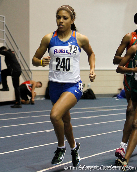 Florida sophomore Brittany Koziara competes in the 1 mile run during the Gator Invite indoor track meet on Sunday, January 22, 2012 at the Stephen C. O'Connell Center in Gainesville, Fla. / Gator Country photo by Tim Casey
