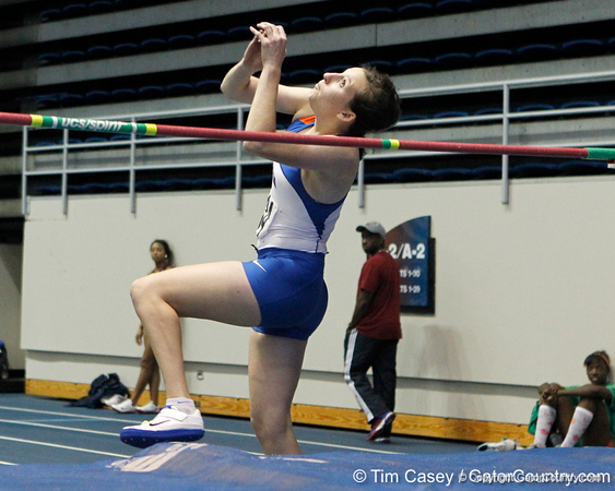 Florida junior Rebecca Goldring competes in the high jump during the Gator Invite indoor track meet on Sunday, January 22, 2012 at the Stephen C. O'Connell Center in Gainesville, Fla. / Gator Country photo by Tim Casey