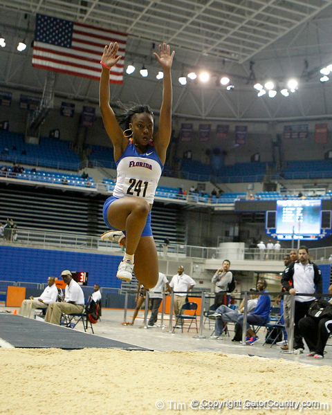 Florida freshman Trish Leger competes in the triple jump during the Gator Invite indoor track meet on Sunday, January 22, 2012 at the Stephen C. O'Connell Center in Gainesville, Fla. / Gator Country photo by Tim Casey