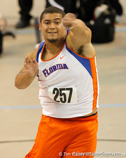 Florida freshman Hunter Joyer competes in the shot put during the Gator Invite indoor track meet on Sunday, January 22, 2012 at the Stephen C. O'Connell Center in Gainesville, Fla. / Gator Country photo by Tim Casey