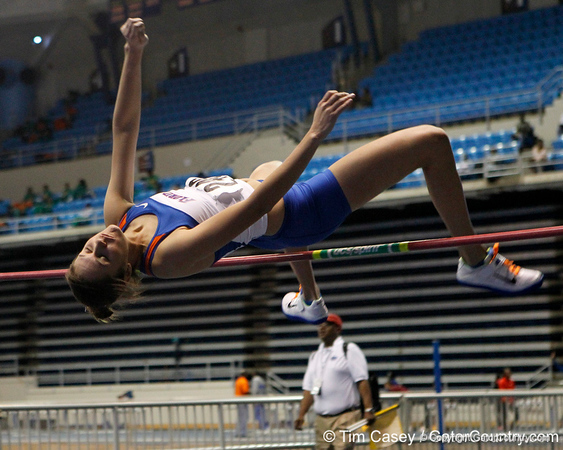 Florida junior Alexis Muniz competes in the high jump during the Gator Invite indoor track meet on Sunday, January 22, 2012 at the Stephen C. O'Connell Center in Gainesville, Fla. / Gator Country photo by Tim Casey