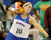 Florida senior Keely Medeiros competes in the shot put during the Gator Invite indoor track meet on Sunday, January 22, 2012 at the Stephen C. O'Connell Center in Gainesville, Fla. / Gator Country photo by Tim Casey