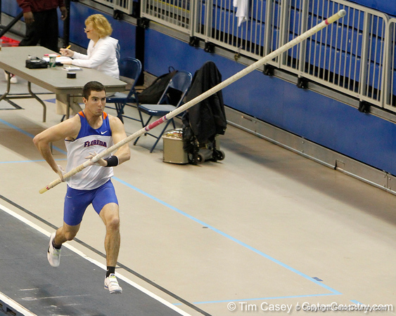 Florida freshman Anthony Amodio competes in the pole vault during the Gator Invite indoor track meet on Sunday, January 22, 2012 at the Stephen C. O'Connell Center in Gainesville, Fla. / Gator Country photo by Tim Casey
