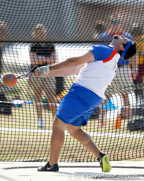 Florida junior David Triassi competes in the weight throw during the Gator Invite indoor track meet on Sunday, January 22, 2012 at the Stephen C. O'Connell Center in Gainesville, Fla. / Gator Country photo by Tim Casey