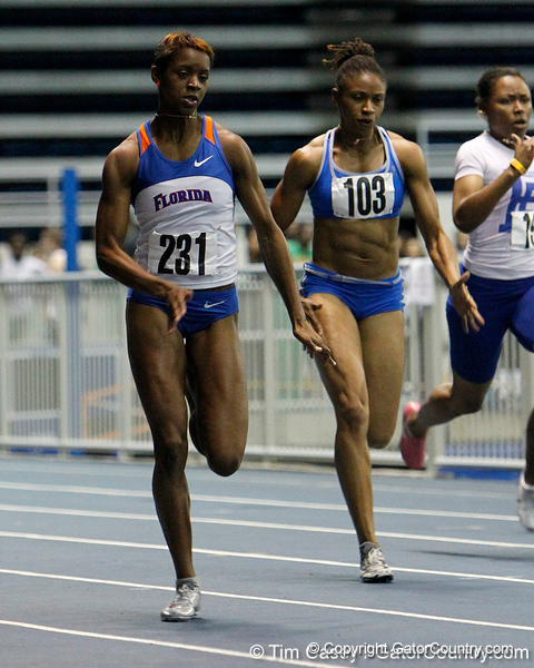 Florida sophomore Darshay Davis competes in the 55 meter dash during the Gator Invite indoor track meet on Sunday, January 22, 2012 at the Stephen C. O'Connell Center in Gainesville, Fla. / Gator Country photo by Tim Casey