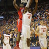 Block by  Patric Young during Florida Gators (18-2, 8-0 SEC) win 78-64 against Ole Miss Rebels (17-4, 6-2 SEC) on Saturday, Jan. 12, 2012, at the Stephen C. O'Connell Center in Gainesville, Fla. / Gator Country photo by John Parady