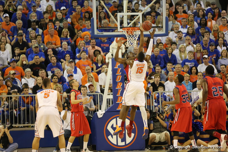 Will Yeguete during Florida Gators (18-2, 8-0 SEC) win 78-64 against Ole Miss Rebels (17-4, 6-2 SEC) on Saturday, Jan. 12, 2012, at the Stephen C. O'Connell Center in Gainesville, Fla. / Gator Country photo by John Parady