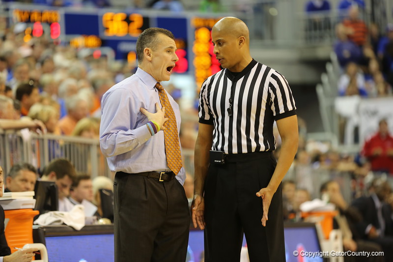 Coach Billy Donovan during Florida Gators (18-2, 8-0 SEC) win 78-64 against Ole Miss Rebels (17-4, 6-2 SEC) on Saturday, Jan. 12, 2012, at the Stephen C. O'Connell Center in Gainesville, Fla. / Gator Country photo by John Parady