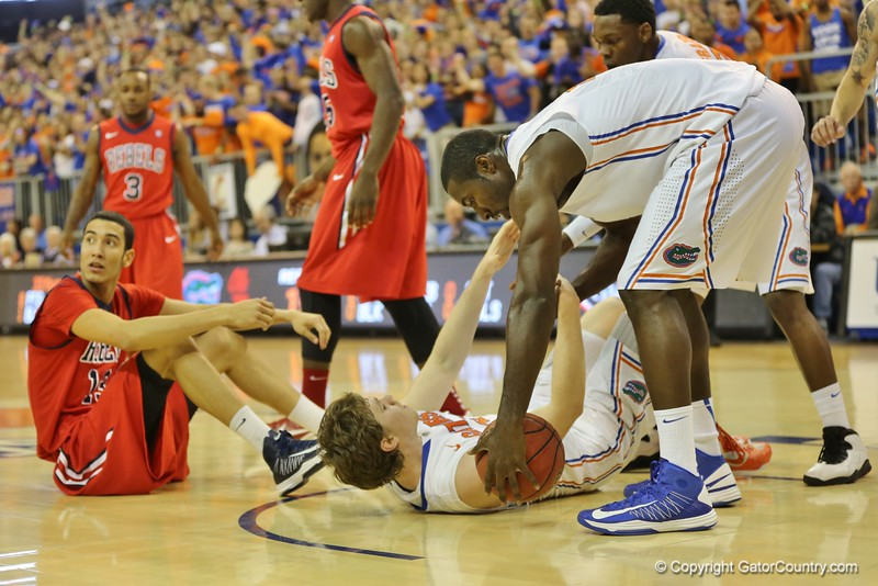 Patric Young and Erik Murphy during Florida Gators (18-2, 8-0 SEC) win 78-64 against Ole Miss Rebels (17-4, 6-2 SEC) on Saturday, Jan. 12, 2012, at the Stephen C. O'Connell Center in Gainesville, Fla. / Gator Country photo by John Parady