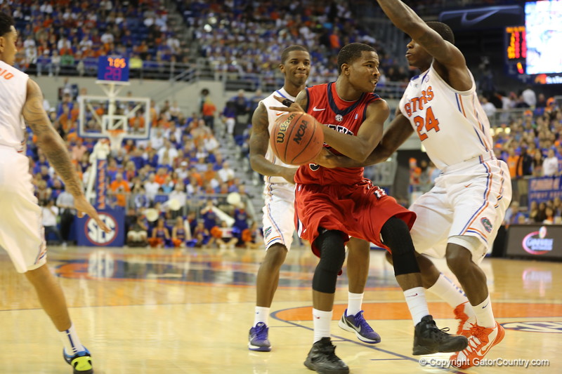 Casey Prather blocks during Florida Gators (18-2, 8-0 SEC) win 78-64 against Ole Miss Rebels (17-4, 6-2 SEC) on Saturday, Jan. 12, 2012, at the Stephen C. O'Connell Center in Gainesville, Fla. / Gator Country photo by John Parady