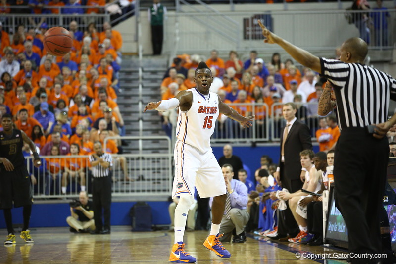 Will Yeguete during the Gators 83-52 win over Missouri on January 19, 2013 at the Stephen C O'Connell Center in Gainesville, Florida. Gatorcountry photo by Curtiss Bryant