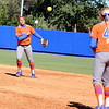 Freshman kelsey Stewart throws the ball to Taylor Schwarz during the Gators' 9-1 win against UNC Wilmington on Saturday, February 17, 2013, at Katie Seashole Pressly Stadium in Gainesville, Fla. / Gator Country photo by Danielle Bloch