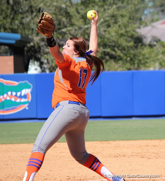 Sophomore Lauren Haeger pitching the ball during the Gators' 9-1 win against UNC Wilmington on Saturday, February 17, 2013, at Katie Seashole Pressly Stadium in Gainesville, Fla. / Gator Country photo by Danielle Bloch