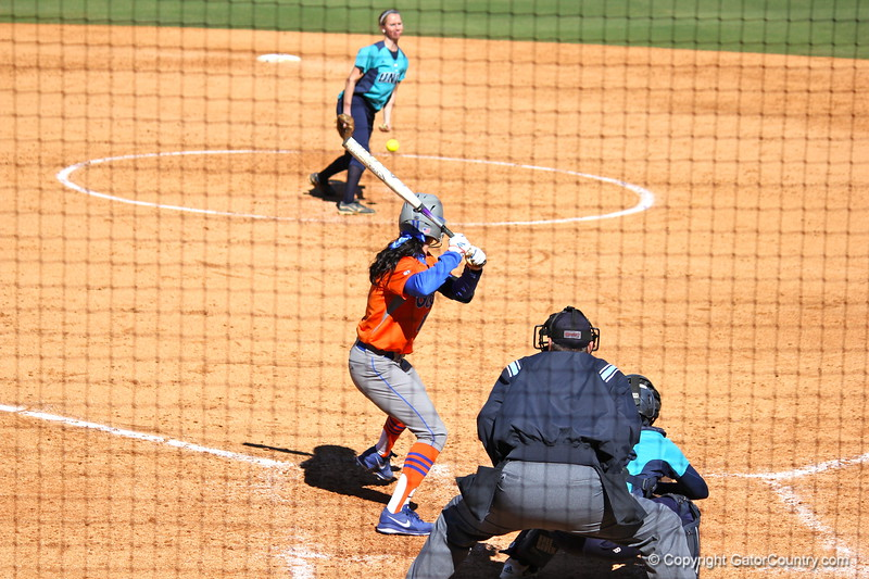 Senior Ensley Gammel at bat during the Gators' 9-1 win against UNC Wilmington on Saturday, February 17, 2013, at Katie Seashole Pressly Stadium in Gainesville, Fla. / Gator Country photo by Danielle Bloch