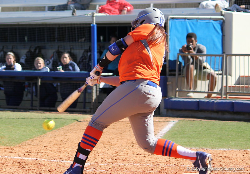 Sophomore Lauren Haeger at bat during the Gators' 9-1 win against UNC Wilmington on Saturday, February 17, 2013, at Katie Seashole Pressly Stadium in Gainesville, Fla. / Gator Country photo by Danielle Bloch