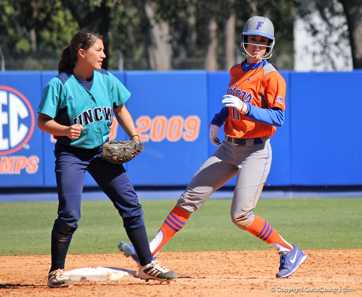 Senior Ensley Gammel during the Gators' 9-1 win against UNC Wilmington on Saturday, February 17, 2013, at Katie Seashole Pressly Stadium in Gainesville, Fla. / Gator Country photo by Danielle Bloch