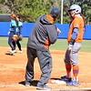 Sophomore Bailey Castro getting tips from the coach during the Gators' 9-1 win against UNC Wilmington on Saturday, February 17, 2013, at Katie Seashole Pressly Stadium in Gainesville, Fla. / Gator Country photo by Danielle Bloch