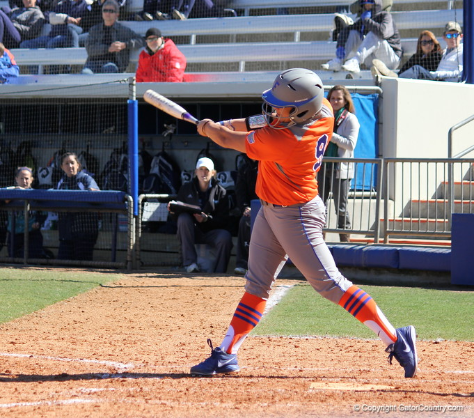 Junior Stephanie Tofft mid swing during the Gators' 9-1 win against UNC Wilmington on Saturday, February 17, 2013, at Katie Seashole Pressly Stadium in Gainesville, Fla. / Gator Country photo by Danielle Bloch