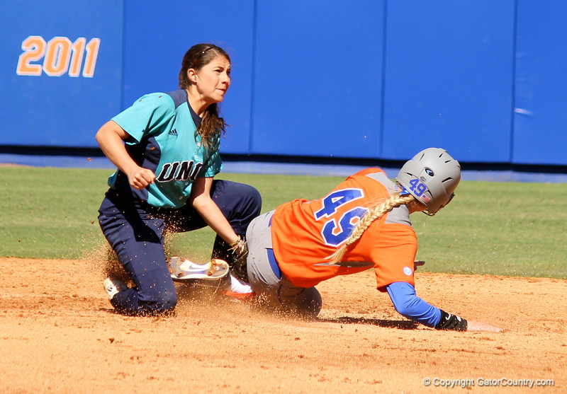 Freshman Taylor Schwarz sliding to second base during the Gators' 9-1 win against UNC Wilmington on Saturday, February 17, 2013, at Katie Seashole Pressly Stadium in Gainesville, Fla. / Gator Country photo by Danielle Bloch
