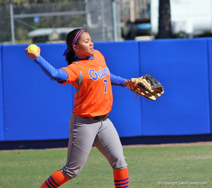 Freshman Kelsey Stewart throwing the ball during the Gators' 9-1 win against UNC Wilmington on Saturday, February 17, 2013, at Katie Seashole Pressly Stadium in Gainesville, Fla. / Gator Country photo by Danielle Bloch