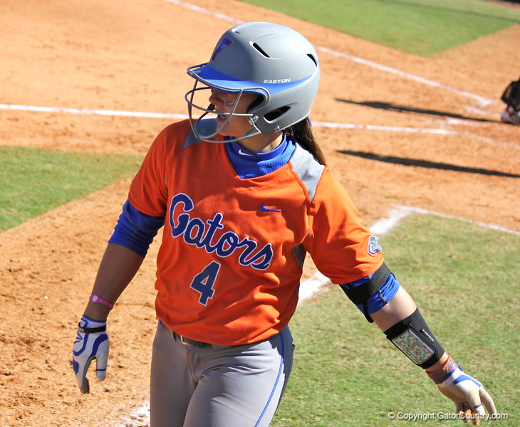 Sophomore Jessica Damico after scoring during the Gators' 9-1 win against UNC Wilmington on Saturday, February 17, 2013, at Katie Seashole Pressly Stadium in Gainesville, Fla. / Gator Country photo by Danielle Bloch