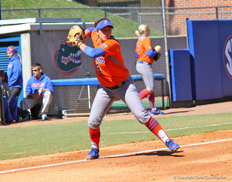 Junior Stephanie Tofft throwing the ball during the Gators' 9-1 win against UNC Wilmington on Saturday, February 17, 2013, at Katie Seashole Pressly Stadium in Gainesville, Fla. / Gator Country photo by Danielle Bloch