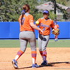 Junior Stephanie Tofft giving the ball to pitcher Lauren Haeger during the Gators' 9-1 win against UNC Wilmington on Saturday, February 17, 2013, at Katie Seashole Pressly Stadium in Gainesville, Fla. / Gator Country photo by Danielle Bloch