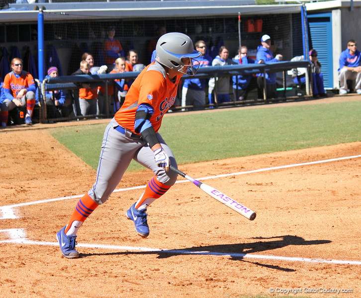 Junior Stephanie Tofft starting to run to first base during the Gators' 9-1 win against UNC Wilmington on Saturday, February 17, 2013, at Katie Seashole Pressly Stadium in Gainesville, Fla. / Gator Country photo by Danielle Bloch