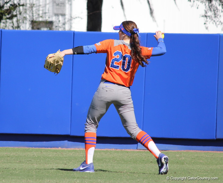 Senior Kelsy Horton taking a practice throw before the beginning of an inning during the Gators' 9-1 win against UNC Wilmington on Saturday, February 17, 2013, at Katie Seashole Pressly Stadium in Gainesville, Fla. / Gator Country photo by Danielle Bloch