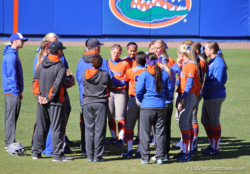 Team huddle after the Gators' 9-1 win against UNC Wilmington on Saturday, February 17, 2013, at Katie Seashole Pressly Stadium in Gainesville, Fla. / Gator Country photo by Danielle Bloch