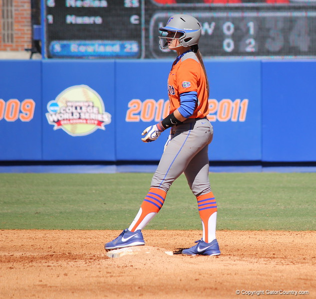 Sophomore Jessica Damico preparing to run to third base during the Gators' 9-1 win against UNC Wilmington on Saturday, February 17, 2013, at Katie Seashole Pressly Stadium in Gainesville, Fla. / Gator Country photo by Danielle Bloch