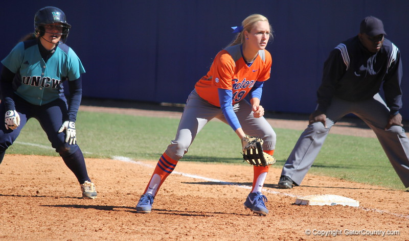 Freshman Taylor Schwarz during the Gators' 9-1 win against UNC Wilmington on Saturday, February 17, 2013, at Katie Seashole Pressly Stadium in Gainesville, Fla. / Gator Country photo by Danielle Bloch