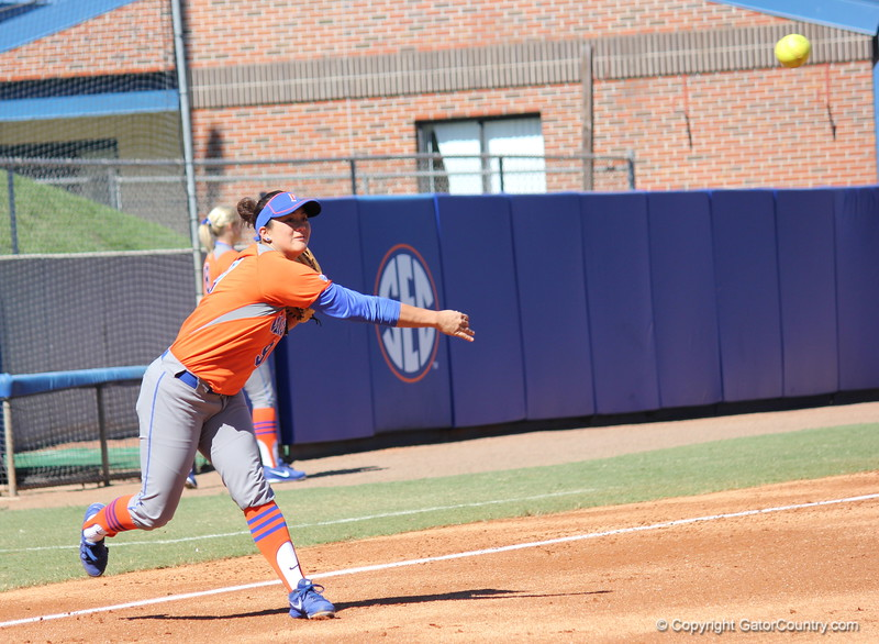 Junior Stephanie Tofft during the Gators' 9-1 win against UNC Wilmington on Saturday, February 17, 2013, at Katie Seashole Pressly Stadium in Gainesville, Fla. / Gator Country photo by Danielle Bloch