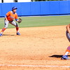 Jessica Damico, Kathlyn Medina, and Stephanie Tofft (from left to right) during the Gators' 9-1 win against UNC Wilmington on Saturday, February 17, 2013, at Katie Seashole Pressly Stadium in Gainesville, Fla. / Gator Country photo by Danielle Bloch