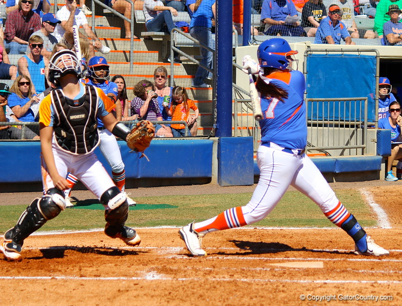 Sophomore Lauren Haeger following threw on her swing during the Gator's softball game against University of Tennessee on Saturday March 16, 2013, at Katie Seashole Pressly Stadium in Gainesville, Fla. / Gator Country photo by Danielle Bloch